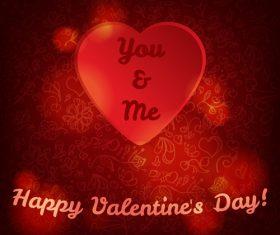 Red valentine card wiht red heart vector design