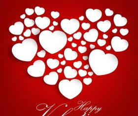 Red valentine card with white hearts vectors 02
