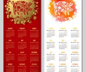 Red with white 2019 calendar template chinese vector