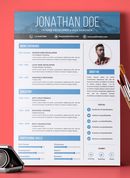 Resume PSD Template