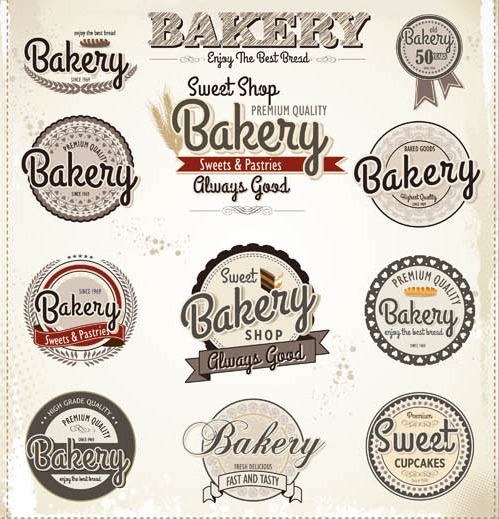 Retro Bakery Labels vectors graphic