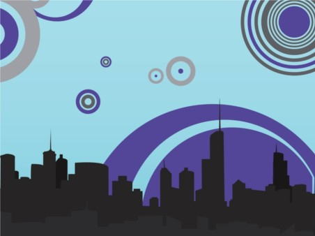 Retro City vectors graphic