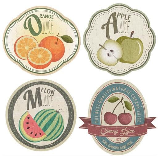 Retro Fruits Labels free vector