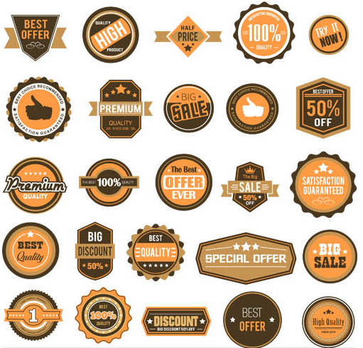 Retro Sale Color Labels vector