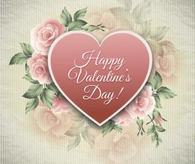 Retro happy valentine day card with pink flower vectors