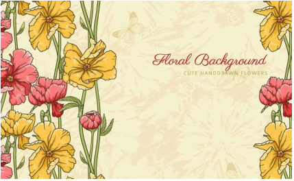 Retro patterns flowers background 01 vectors