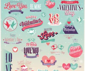Retro valentine day labels with badge vector