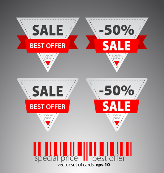 Ribbon sale labels 3 vector
