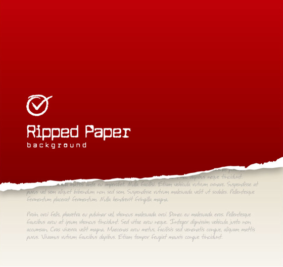 Ripped paper red background vector