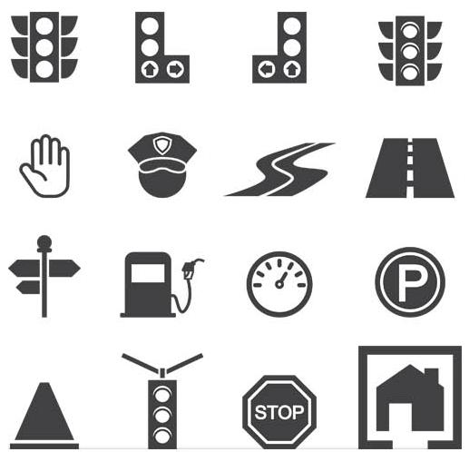 Roads Black Icons free vectors graphics