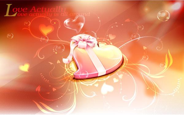 Romantic Valentine heart background 4 vector