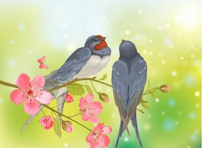 Romantic birds on tree branch Free vector