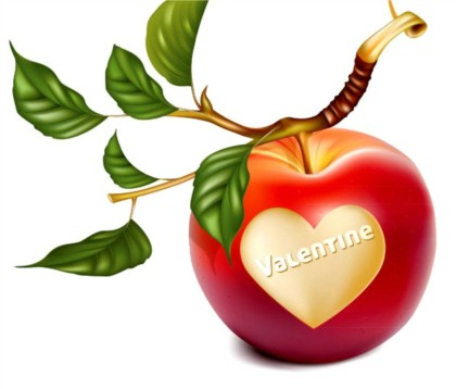 Romantic heart-shaped apple design vectors