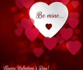 Romantic heart valentine card vector design