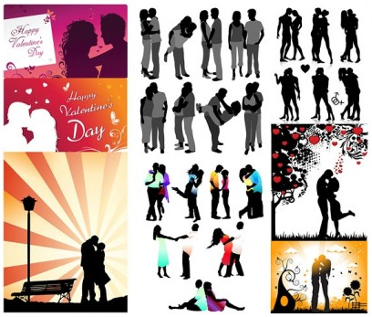 Romantic lovers silhouette vector