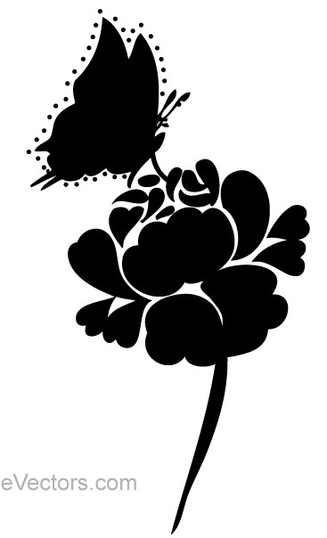Rose Silhouette with Butterfly Image vector
