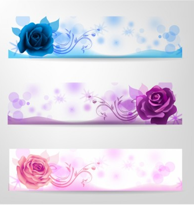 Rose banner set Free Illustration vector
