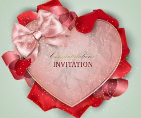 Roses petals with romantic invitation card vector 01
