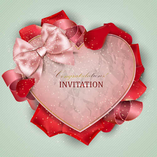 Roses petals with romantic invitation card vector 01