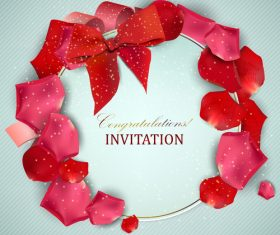 Roses petals with romantic invitation card vector 02