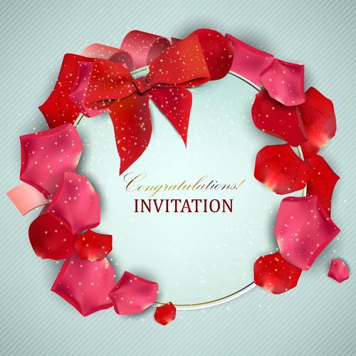 Roses petals with romantic invitation card vector 02
