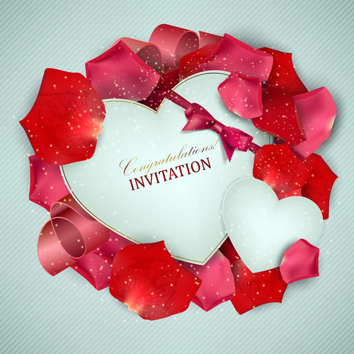 Roses petals with romantic invitation card vector 03