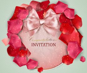 Roses petals with romantic invitation card vector 04