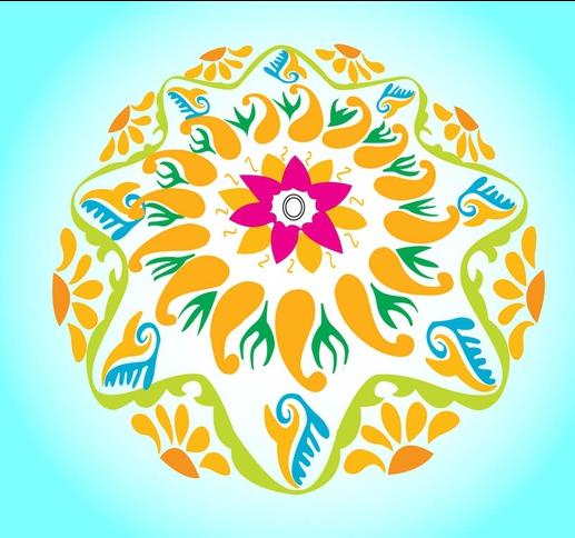 Round Floral Layout design vector