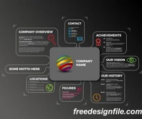 Rounded bubbles center company profile outline dark vector