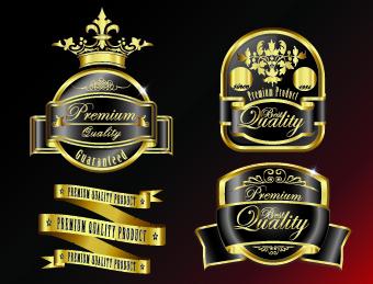 Royal glass labels 4 vector