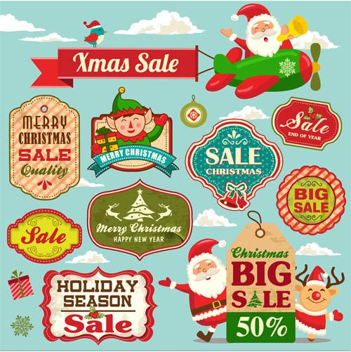 Sale Christmas Labels vector