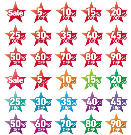 Sale Stars Stickers vector