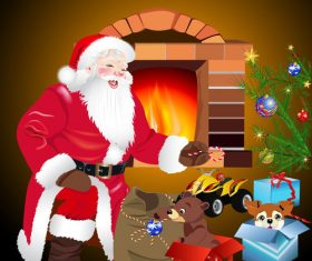 Santa Claus with christmas gift and tree vector