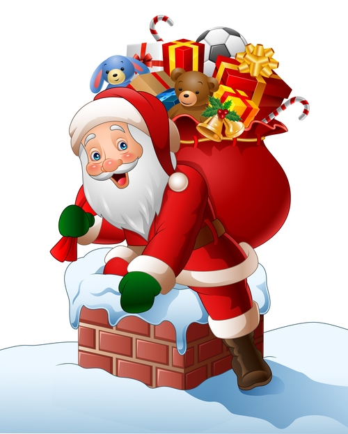 Santa Claus with gifts bag vectors 01