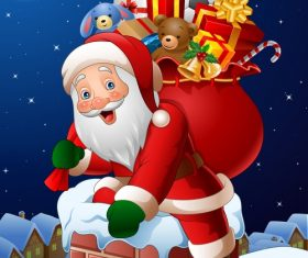 Santa Claus with gifts bag vectors 02