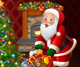 Santa Claus with gifts bag vectors 03