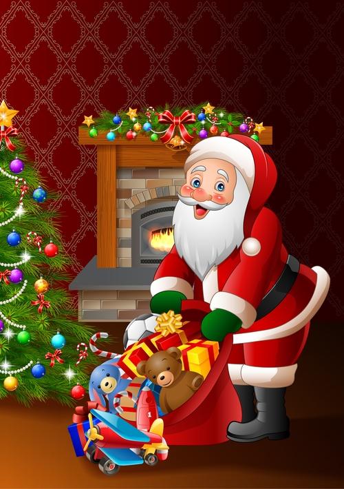 Santa Claus with gifts bag vectors 03