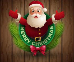 Santa hug labels design vectors 02