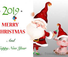 Santa with pig and christmas card vector