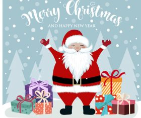 Santa with winter christmas background vector 01