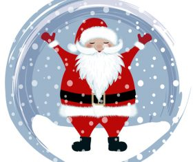 Santa with winter christmas background vector 02