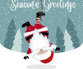 Santa with winter christmas background vector 06