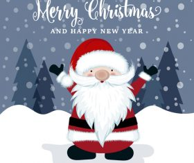 Santa with winter christmas background vector 05