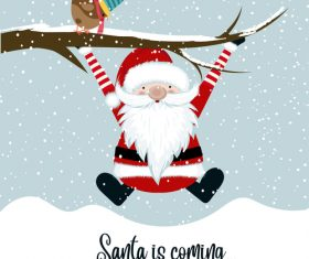 Santa with winter christmas background vector 04