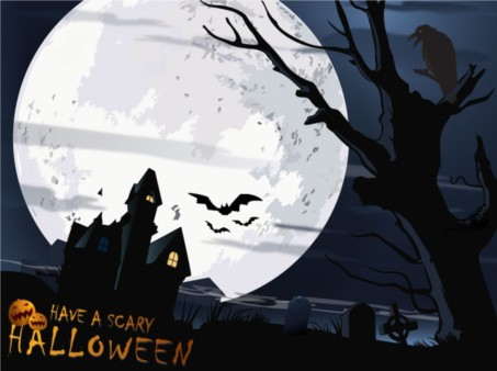 Scary Halloween Card shiny vector
