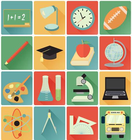 School Flat Icons vector