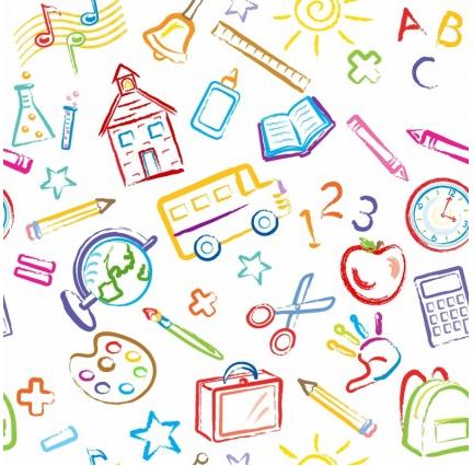 School Symbols Seamless Pattern vector