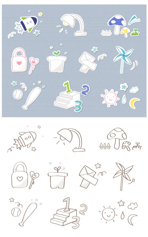 School icons 6 vector