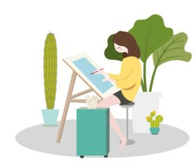 Schoolgirl drawing vector