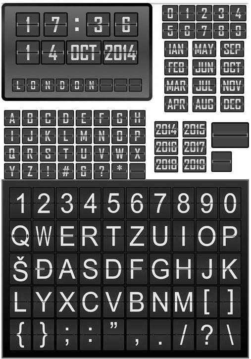 Scoreboard Alphabets Set vectors
